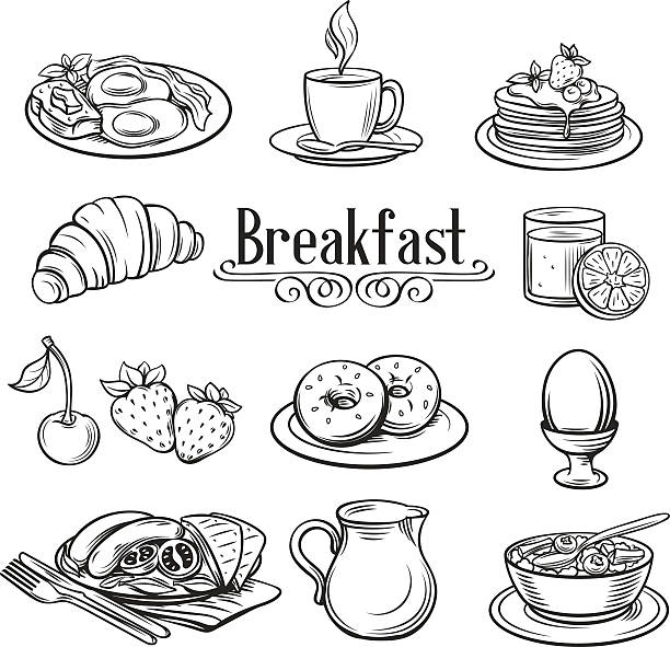 Hand drawn decorative icons breakfast . vector art illustration