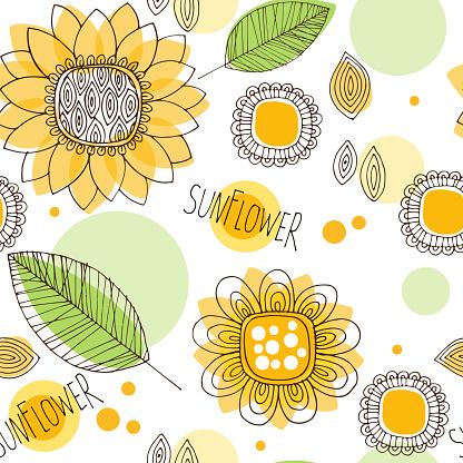 hand drawn decorative sunflower seamless pattern