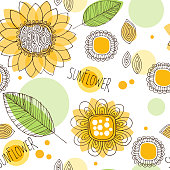 hand drawn doodle decorative sunflower seamless pattern