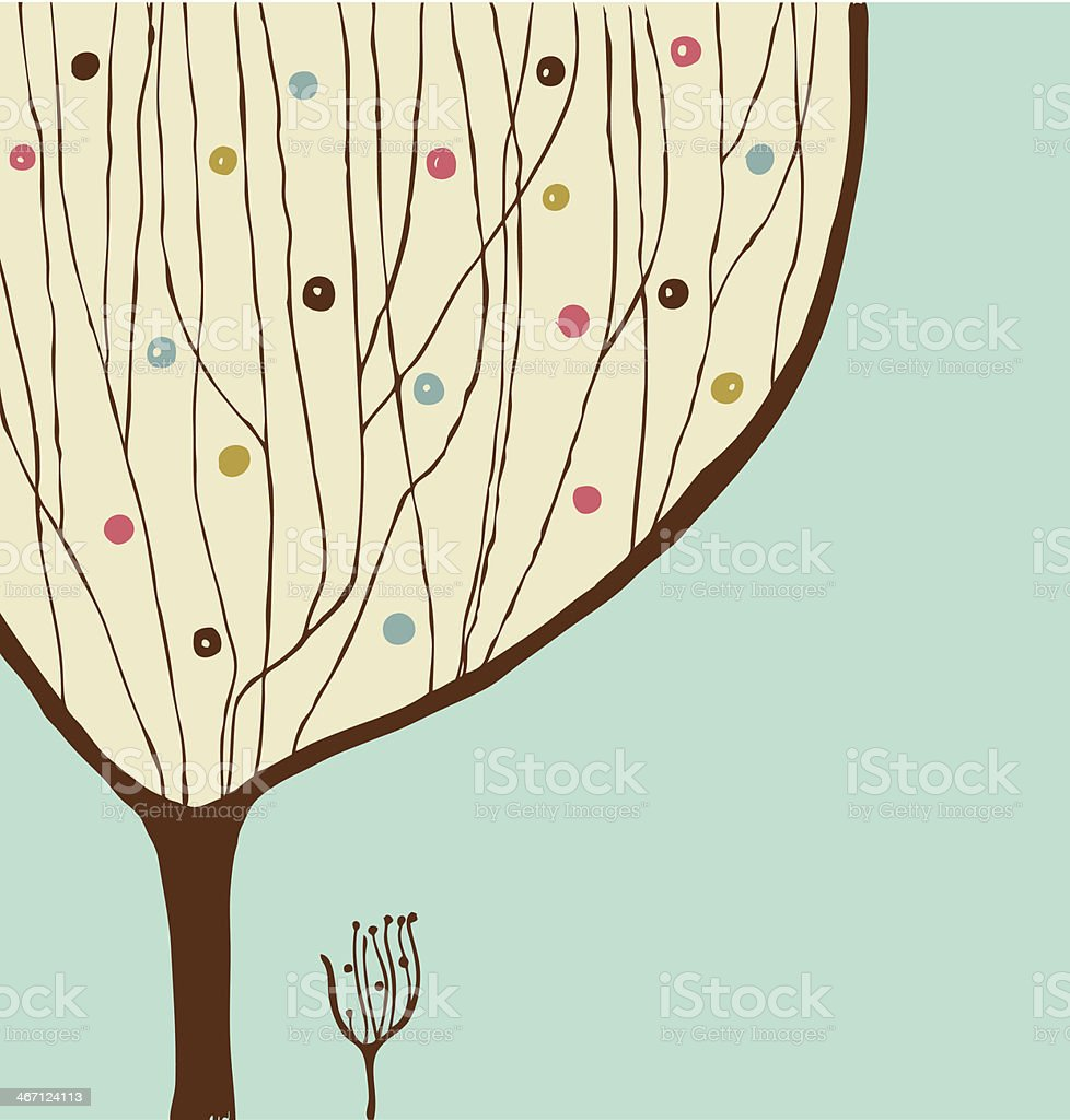 Hand drawn decorative tree. Vintage spring banner royalty-free stock vector art