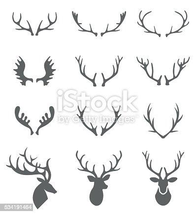 Hand Drawn Deer Antlers Vectors.