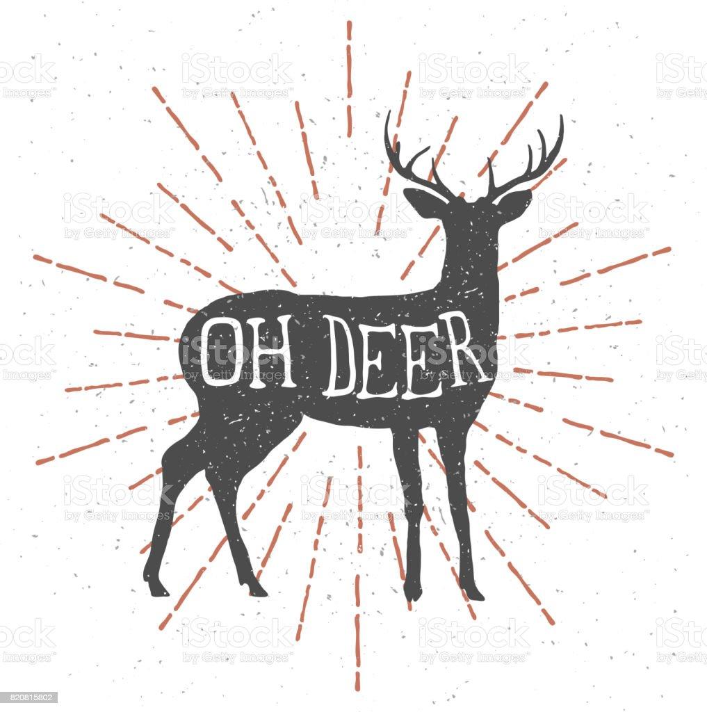 Hand drawn deer with vintage sunburst and lettering 'oh deer' vector art illustration
