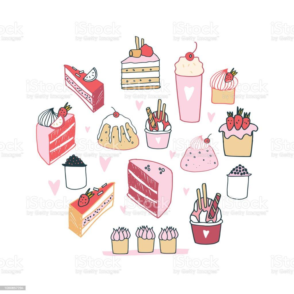 Handgezeichnete Leckeres Essen Dessert Kollektion Milchshake Kuchen