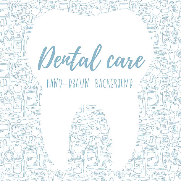 hand drawn dental care background - dentist stock illustrations, clip art, cartoons, & icons