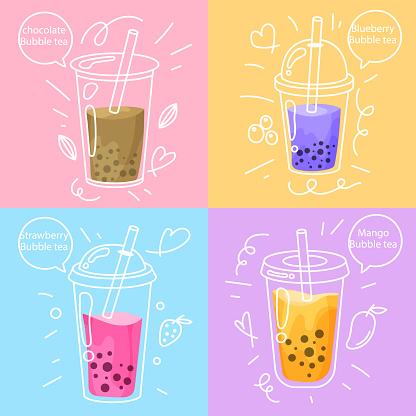 Hand drawn design bubble tea flavors Vector illustration