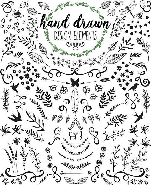 Hand drawn design elements and embellishments in black ink vector art illustration