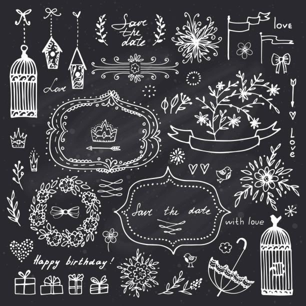 illustrations, cliparts, dessins animés et icônes de éléments de design dessinés pour la décoration de mariage et anniversaire p la main - dessin cage a oiseaux
