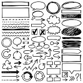 Hand drawn design elements. Vector frames and arrows.