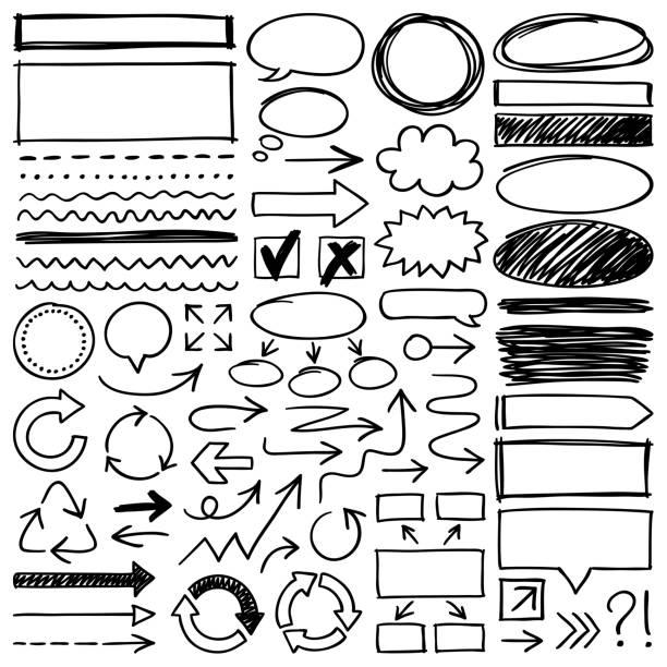ręcznie rysowane elementy konstrukcyjne - bazgroły rysunek stock illustrations