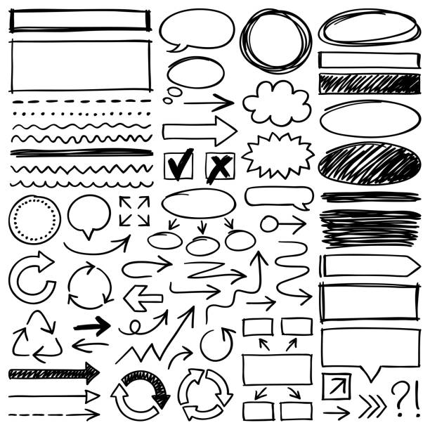 hand drawn design elements - szkic rysunek stock illustrations