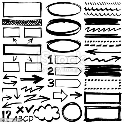 Hand drawn design elements. Vector frames, arrows and different shapes.