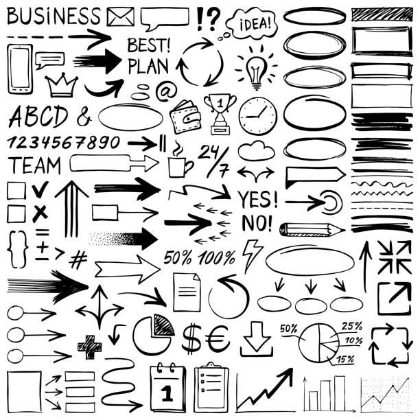 ilustrações de stock, clip art, desenhos animados e ícones de hand drawn design elements - writing ideas