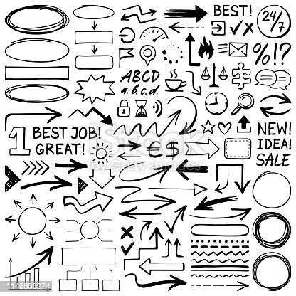 Hand drawn design elements. Vector frames, arrows, icons and different shapes. Doodle illustration.