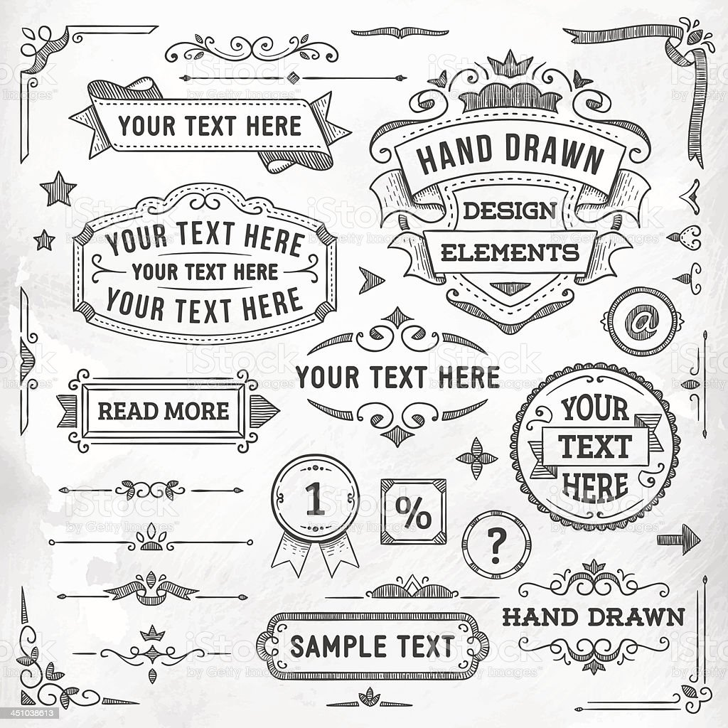 Hand Drawn Design Elements royalty-free stock vector art