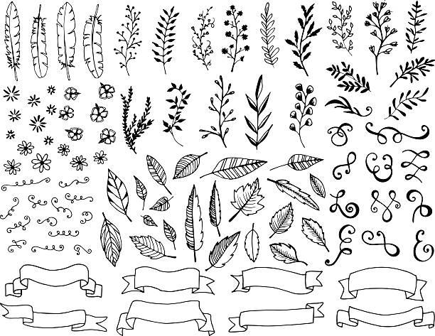 hand gezeichnete design-elemente - blumengirlanden stock-grafiken, -clipart, -cartoons und -symbole