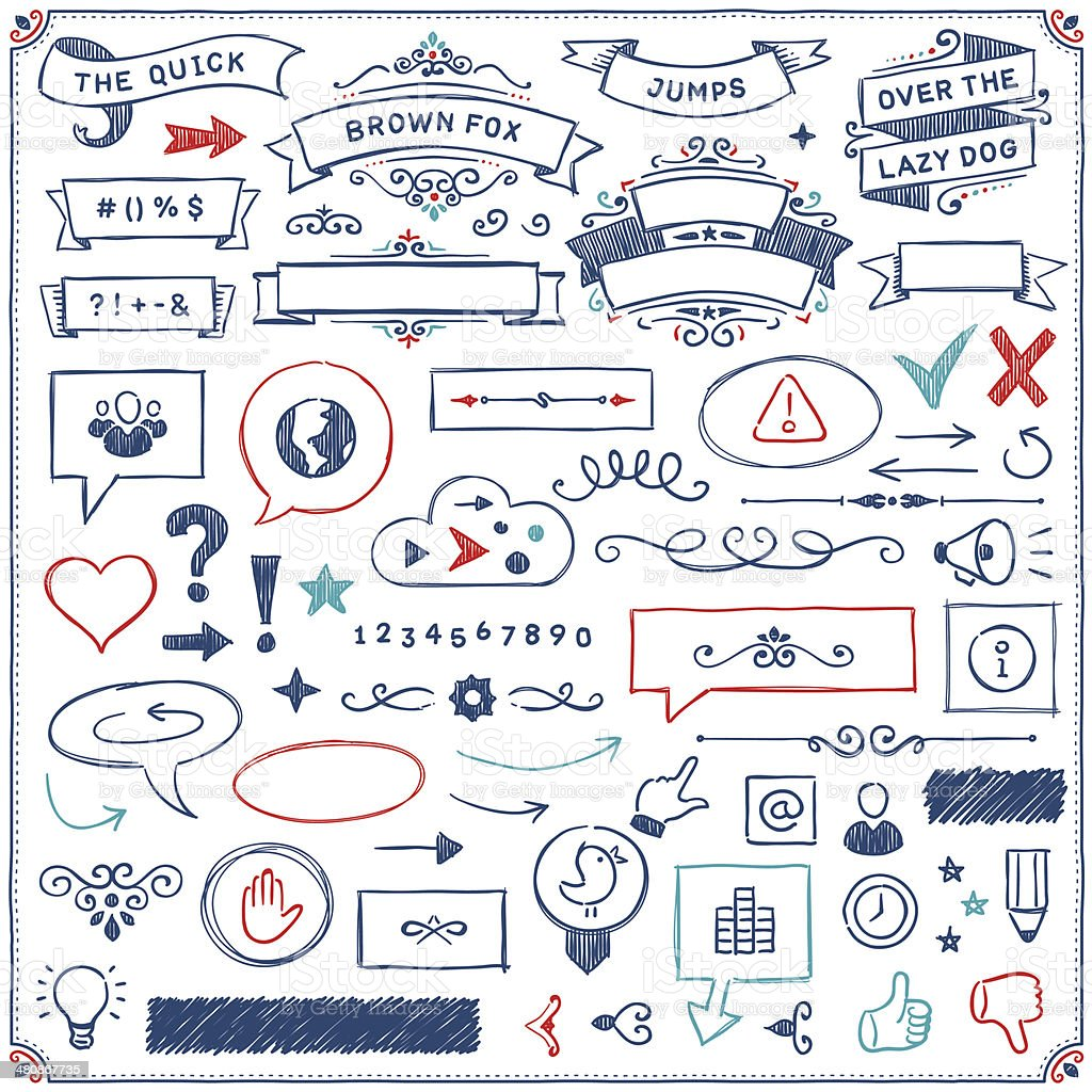 Hand Drawn Design Elements vector art illustration