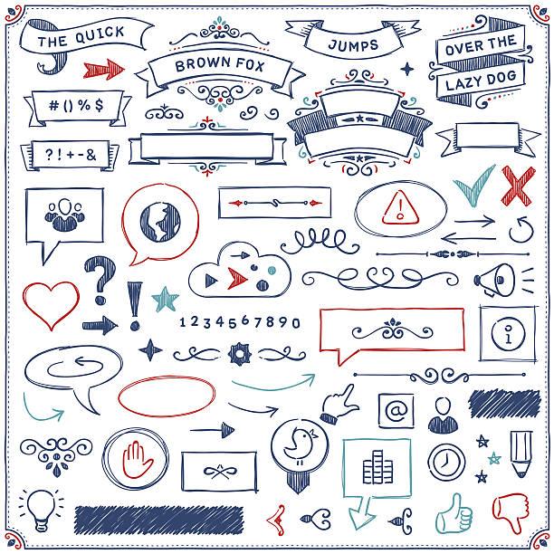 手描きのデザイン要素 - いたずら書き/手書きのフレーム点のイラスト素材/クリップアート素材/マンガ素材/アイコン素材