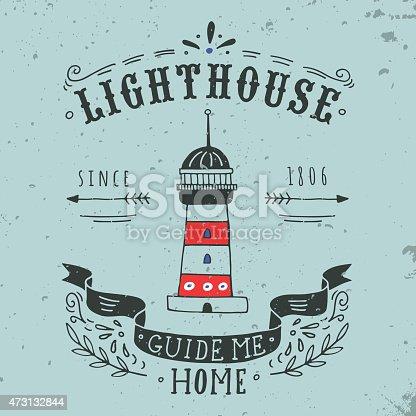 A hand drawn design of a lighthouse card