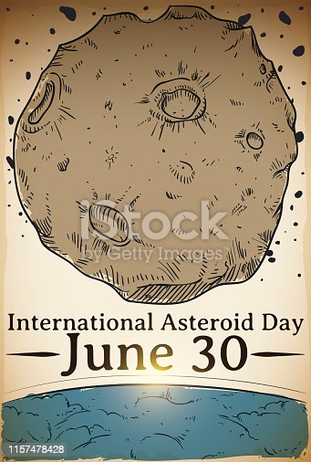 Hand draw design of an asteroid passing close to the Earth's atmosphere to promote awareness in the International Asteroid Day in June 30.