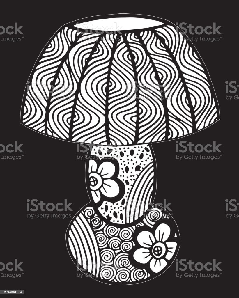 Hand drawn desk lamp, lighting, Sketch, ornament illustration - Illustration royalty-free hand drawn desk lamp lighting sketch ornament illustration illustration stock vector art & more images of black color