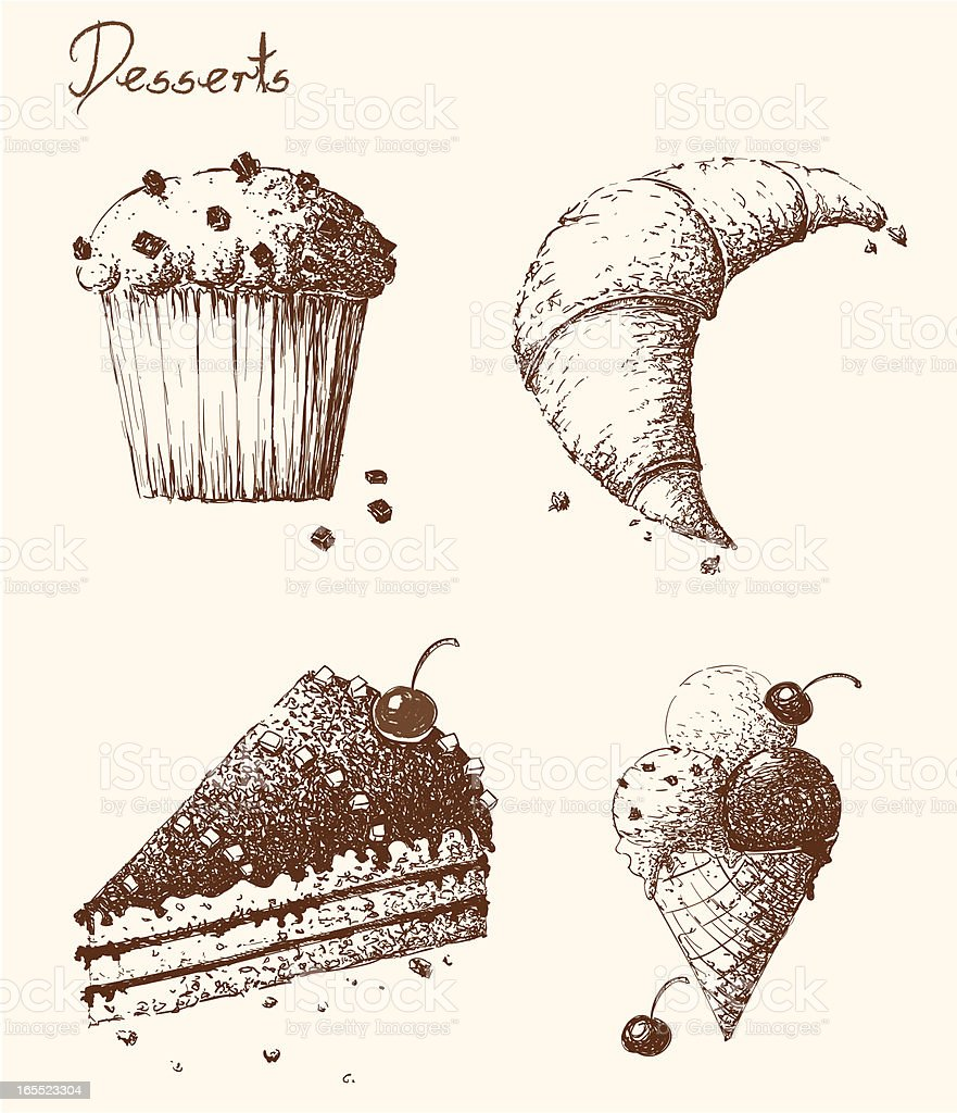 Hand Drawn Desserts royalty-free hand drawn desserts stock vector art & more images of backgrounds
