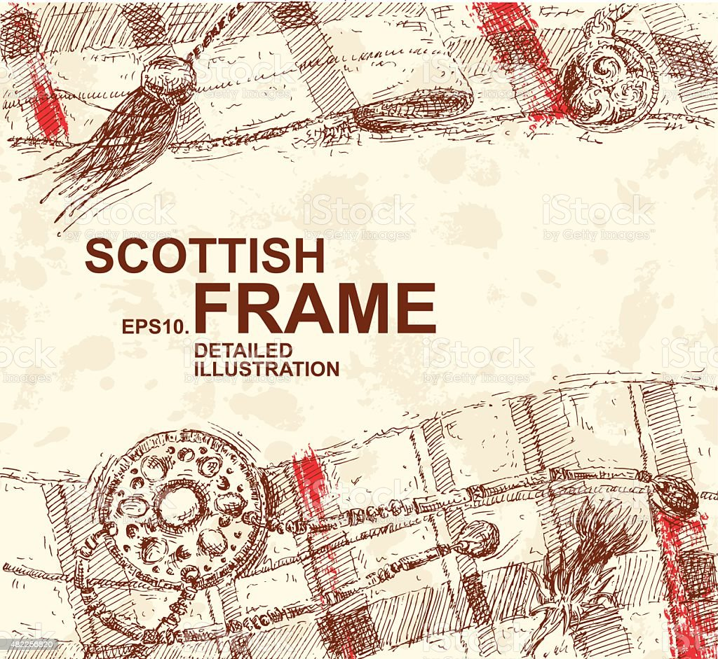 Hand Drawn Detailed Scottish Background vector art illustration