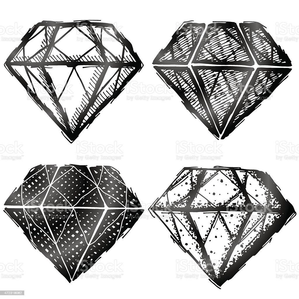 Hand drawn diamond-symbol – Vektorgrafik