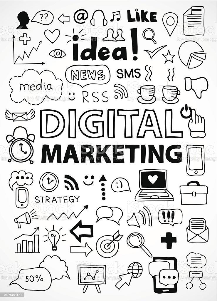 Hand drawn digitale marketing-Symbole für Infografiken - Lizenzfrei Blase - Physikalischer Zustand Vektorgrafik