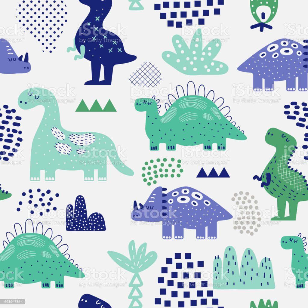 Hand Drawn Dinosaurs Seamless Pattern Creative Childish Background With Cute Dino For Fabric Textile