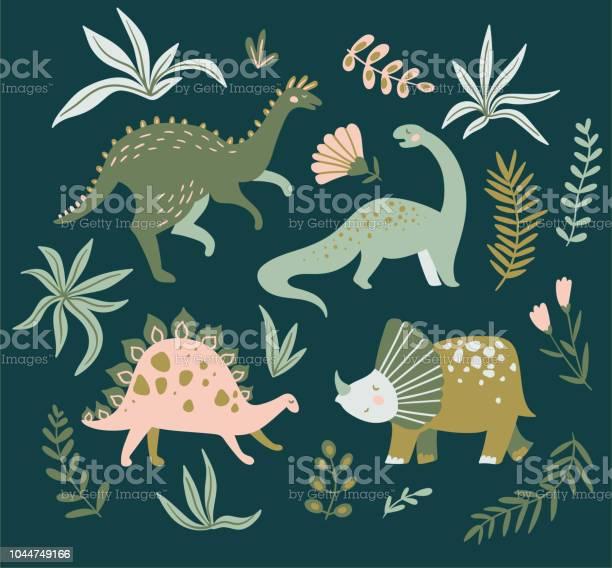 Hand drawn dinosaurs tropical leaves and flowers cute dino design vector id1044749166?b=1&k=6&m=1044749166&s=612x612&h=l4f211bcd2dbhnfmyjxgydbh8vm38phzegvtop0tyaa=