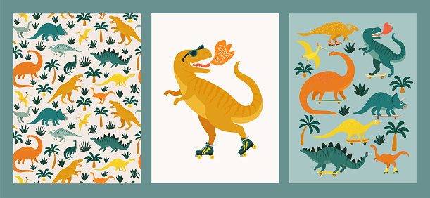 Hand drawn dinosaurs, tropical leaves and flowers. Seamless pattern. Cute dino design elements. Prints vintage design for t-shirts. Vector illustration.