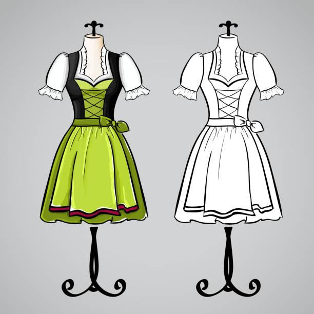 Hand Drawn Dirndl Dress On Mannequin Vector Art Illustration