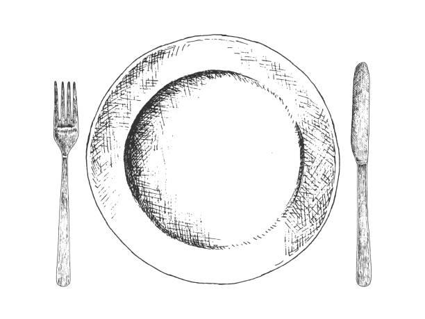 bildbanksillustrationer, clip art samt tecknat material och ikoner med hand dras maträtt, gaffel och kniv. - empty plate