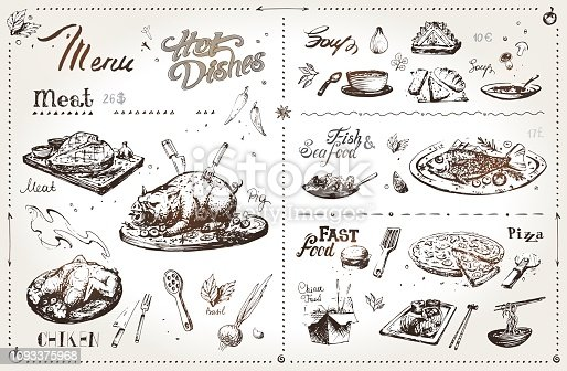 Hand drawn meat dishes for menu design. Vector