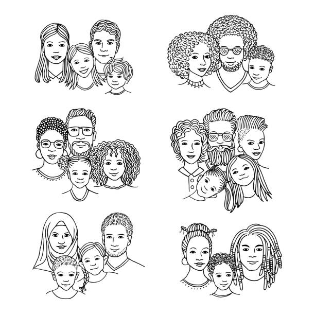 Hand drawn diverse family portraits vector art illustration