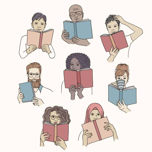 Hand drawn diverse people reading books vector art illustration