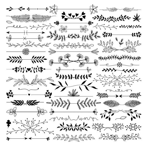 ilustrações de stock, clip art, desenhos animados e ícones de hand drawn dividers - compasso