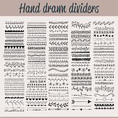 Vector illustration of a collection of hand drawn dividers for design projects and other related projects