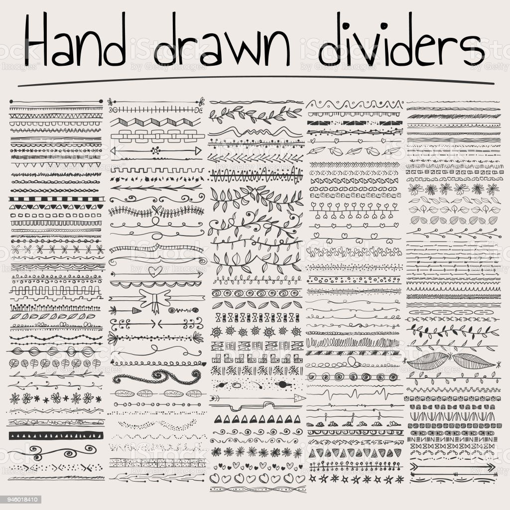 Hand drawn dividers vector art illustration