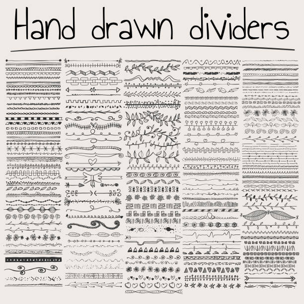 illustrazioni stock, clip art, cartoni animati e icone di tendenza di hand drawn dividers - scarabocchi