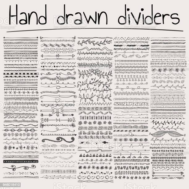 Vector illustration of a collection of hand drawn dividers for design projects and other related art works