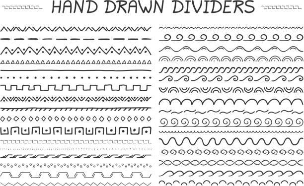 hand gezeichnet teiler - rahmen mit kritzeleien und zeichnungen stock-grafiken, -clipart, -cartoons und -symbole