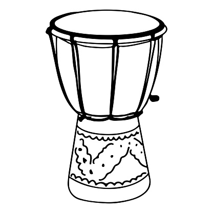 Hand Drawn djembe drums doodle isolated on white background. vector illustration.
