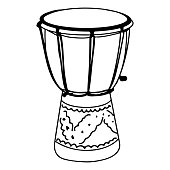 istock Hand Drawn djembe drums doodle isolated on white background. vector illustration. 1287156343
