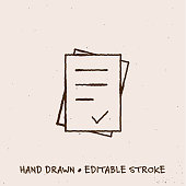 Sketchy Document Icon with Editable Stroke