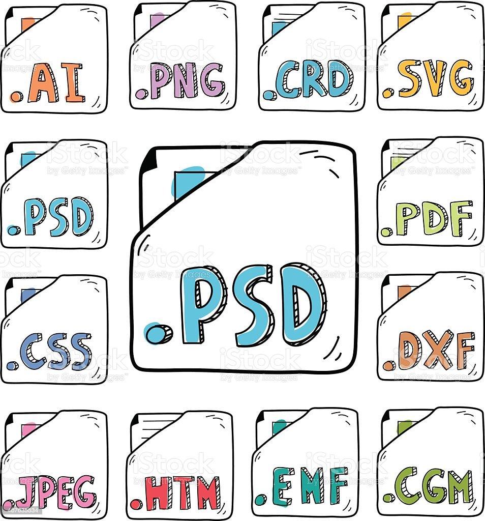 hand drawn documents program formats  iconsvectorkunst illustratie