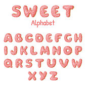 Hand drawn Donut letters. Pink Donuts ABC. Fun Alphabet. Vector template for your design.