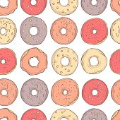 istock Hand drawn donuts. Vector   pattern 1201603259