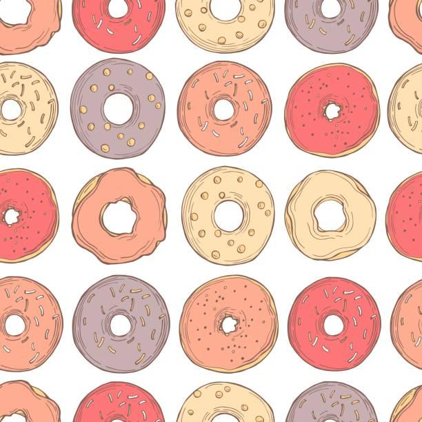 ilustraciones, imágenes clip art, dibujos animados e iconos de stock de donuts dibujados a mano. patrón vectorial - conceptos y temas
