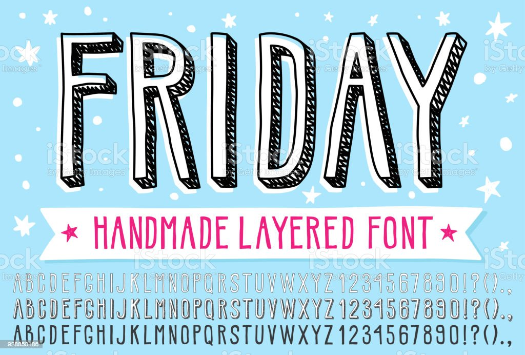 Hand drawn doodle 3d outline font. royalty-free hand drawn doodle 3d outline font stock illustration - download image now